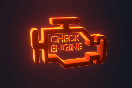 Red malfunction or check engine car light symbol, dash board. Icon of auto spare parts lamp on white background