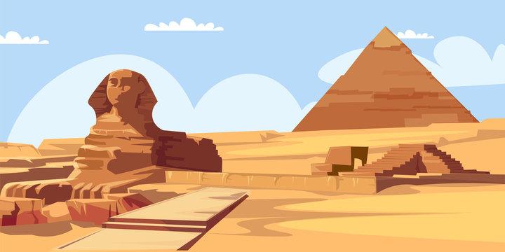 Sphinx and pyramid flat vector illustration