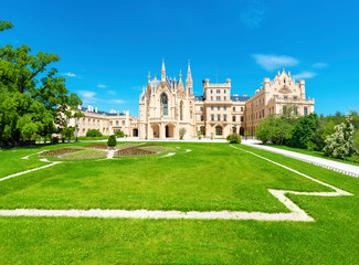 View of Lednice castle with monumental park in South Moravia – UNESCO (Czech Republic)