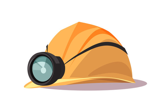 Helmet with flashlight flat vector illustration