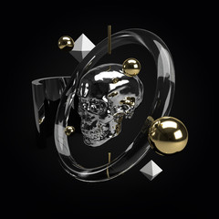Black skull 3d rendering. Abstract scene with black and gold flying objects.