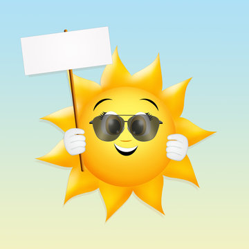 illustration of sun with sign