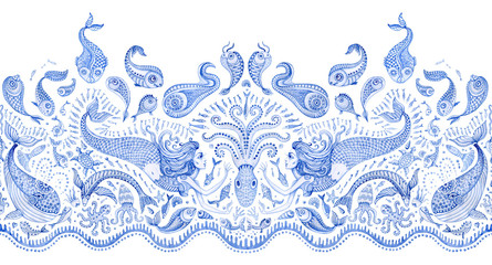 Seamless border pattern of blue hand painted fairy tale sea animals and mermaid. Watercolor fantasy fish, octopus, coral, sea shells, bubbles on a white background. Batik fringe, textile print