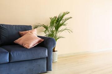 Soft sofa near light wall in living room