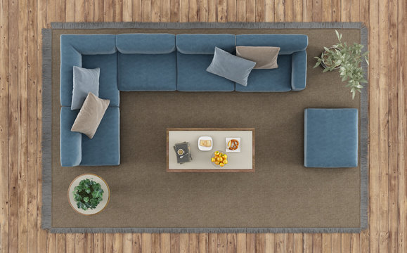 Top view of a modern living room with white sofa and coffee table on carpet - 3d rendering