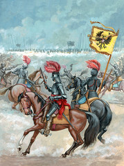 Cavalry attack. 30 year war. Mounted knights illustration. Battle between armies of the House of Habsburg and Swedish king.