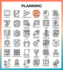 Planning concept icon set
