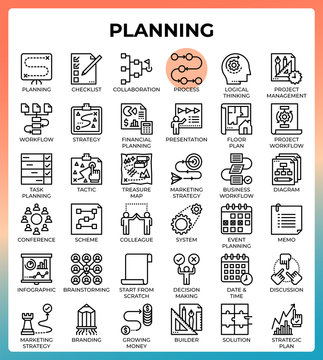 Planning concept icon set