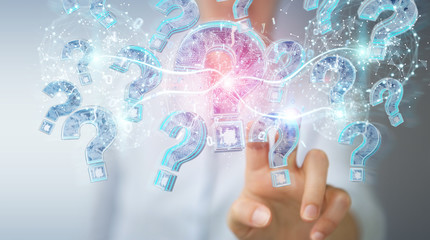 Businesswoman solving problem with digital question marks 3D rendering