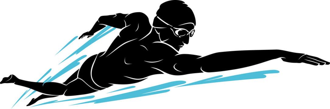 Swim Front Crawl, Male Silhouette