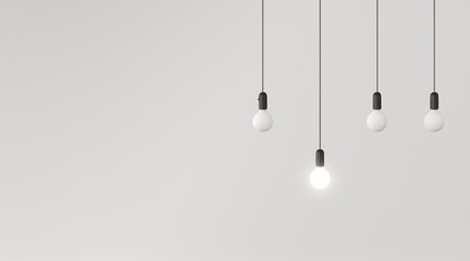 Mock up of hanging light bulbs with one glowing on white wall background,Conceptual idea,Outstanding. 3D rendering Wall mural