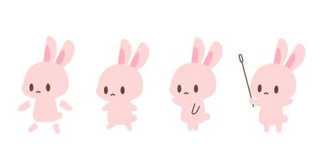 ピンクうさぎイラスト・うさ耳顔手足胴体パーツ分け素材・指し棒・指示・教えるイラストアイコン