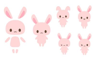 ピンクうさぎイラスト・顔手足胴体パーツ分け素材・色々表情・正面・アイコン