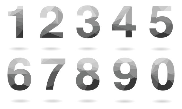 Set of grey vector polygon numbers font with shadow.  Low poly illustration of flat design.