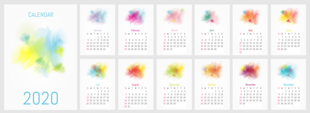 Vector watercolor design calendar 2020