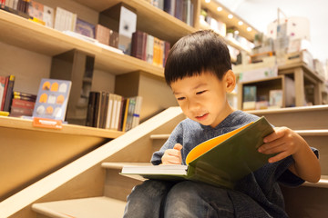 Portrait of adorable little preschool Asian boy sitting on stairs, reading book in library with fun and full concentration. Child's Brain Development, Learn to read, Cognitive Skills concept. Wall mural