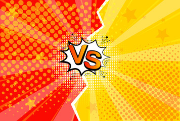 Fotobehang Pop Art Pop art retro comic. Yellow and red background. Versus lightning blast halftone dots. Cartoon vs. Vector Illustration