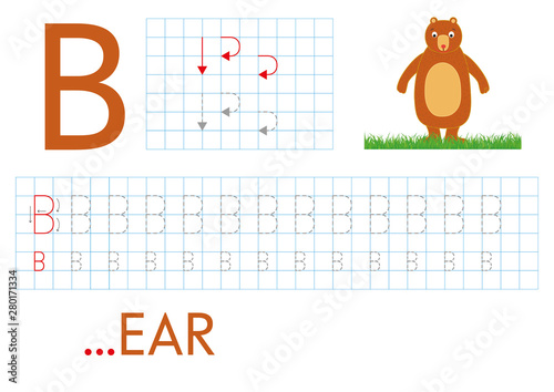 photograph about Letter B Printable Worksheets named Printable worksheet for kindergarten and preschool with