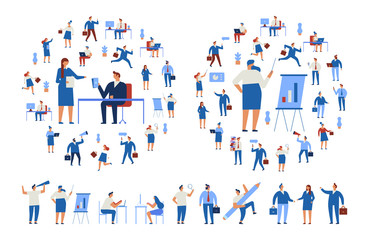 Wall Mural - Business People vector set. Business team. Teamwork, brainstorming. Success. Men and women. Flat vector characters isolated on white.