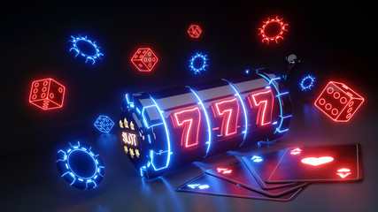 Gambling Slot Machine and Aces Concept With Glowing Neon Isolated On The Black Background - 3D Illustration