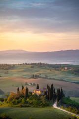 Fototapete - Tuscany countryside. near Pienza, during springtime. Pienza, Tuscany, Italy