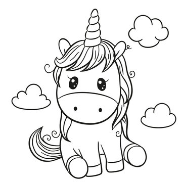 Cartoon unicorn outlined for coloring book isolated on a white background