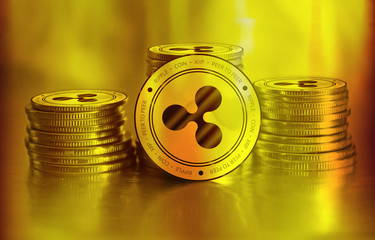 Ripple (XRP) digital crypto currency. Stack of golden coins. Cyber money.