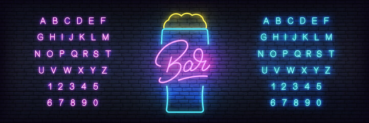 Beer neon template. Glowing lettering beer sign for bar, pub, restaurant, club