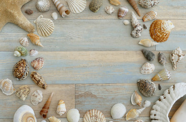 Overhead Flat Lay Background Frame of Seashells on Blue Weathered Wood