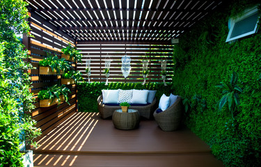 Photo sur Plexiglas Jardin Outdoor living.Living corner in the garden outside the house.