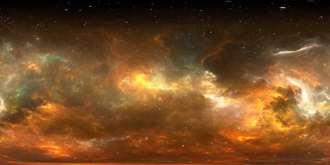360 degree stellar system and gas nebula. Panorama, environment 360 HDRI map. Equirectangular projection, spherical panorama Wall mural