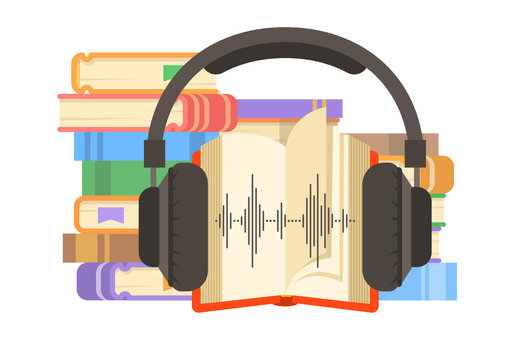 Audio book concept. Online library vector flat illustration. Stack of books with open book and headphones on it. Electronic book metaphor.
