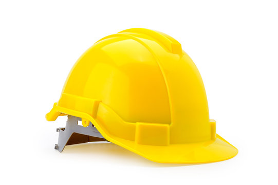 Yellow safety helmet isolated on white background  with selection path.