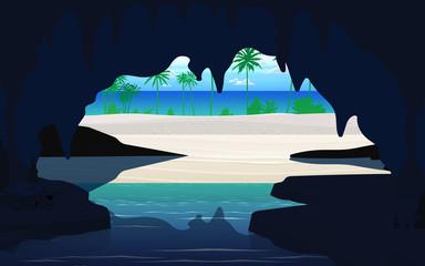 Papiers peints Vert corail landcape of the cave at the baech on the island