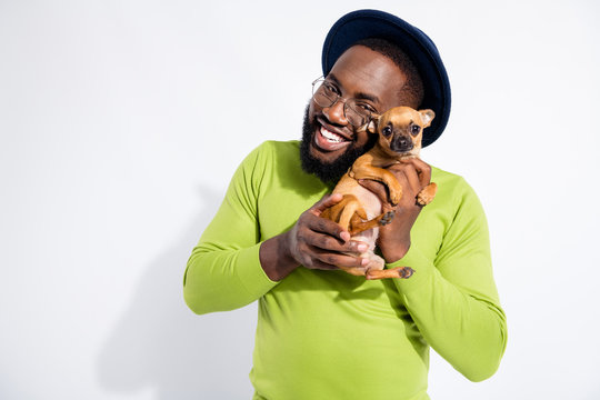 Portrait of cheerful guy hugging his toy terrier wearing eyeglasses eyewear isolated over white background