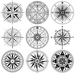 Vintage nautical rose wind compass vector collection