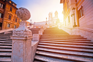Spanish steps famous landmark of Rome morning sunrise view