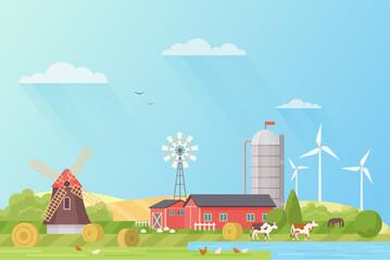 Farm landscape rural fields flat vector illustration