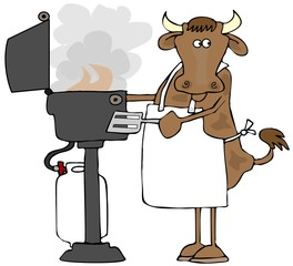 Cow grilling on a propane BBQ
