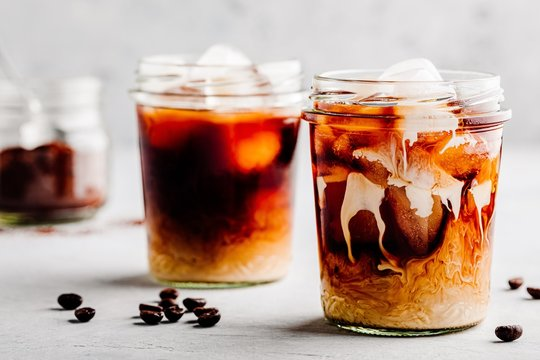 Almond Milk Cold Brew Coffee Latte in glass jars