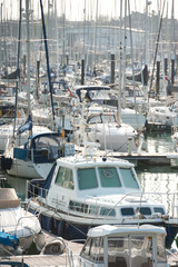 busy boating marina - no identifiable craft or product identification