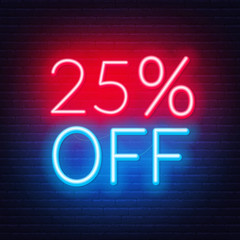 Fototapete - 25 percent off neon lettering on brick wall background