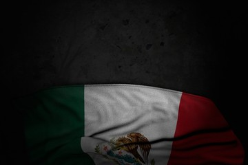 pretty dark picture of Mexico flag with large folds on black stone with free space for your content - any holiday flag 3d illustration..