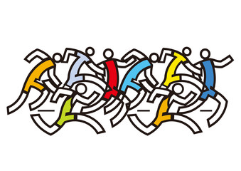 Running racers, marathon.  Colorful abstract stylized illustration of eight runners.Isolated on white background. Vector available.