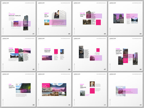Minimal brochure templates with pink color rectangles, rectangular shapes. Covers design templates for square flyer, leaflet, brochure, report, presentation, blog, advertising, magazine for blogging.