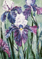 acrylic painting of purple iris flower on canvas