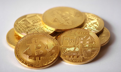 Digital currency Bitcoin isolated on a white background
