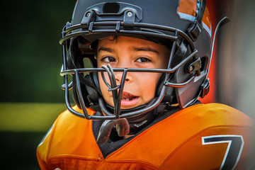 Child Football Player Closeup