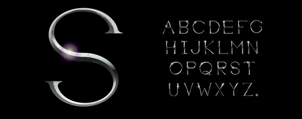 Realistic silver alphabet. Hand crafted serif font with rust effects. Silver classic textured uppercase.