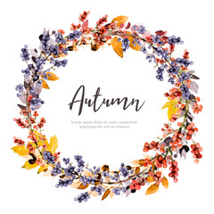 Autumn wreath in watercolor style